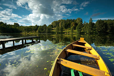 A Wooden Boat On A Lake In Suwalki Lake District Art Print by Slawek Staszczuk