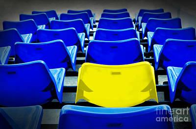 A Yellow Vip Seat In Football Stadium  Original