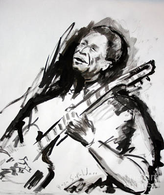 Drawing - A Young Bb King by Reza Sepahdari