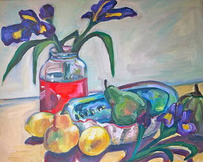Abalone Shell Fruit And Flowers Art Print by Michelle Grove