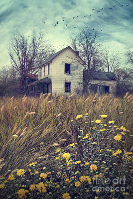 Photograph - Abandoned Country Farmhouse Overgrown With Tall Grasses by Sandra Cunningham
