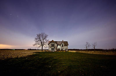 Abandoned Farmhouse At Night Art Print