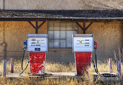 Abandoned Gas Pumps And Station Art Print