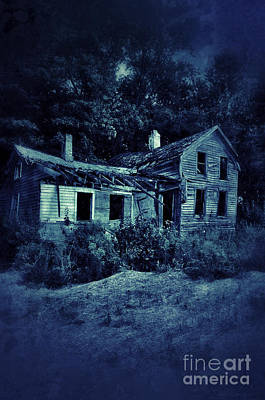 Abandoned House At Night Print by Jill Battaglia