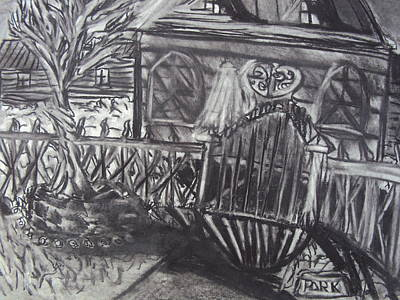 Drawing - Abandoned House With Gate by Casey P