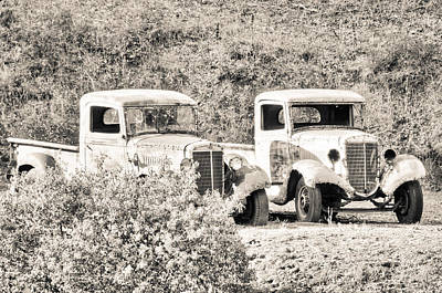 Photograph - Abandoned Trucks Black And White by Connie Cooper-Edwards