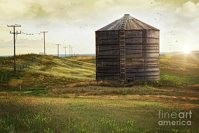 Photograph - Abandoned Wood Grain Storage Bin In Saskatchewan by Sandra Cunningham