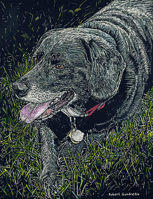 Painting - Abbe The Dog by Robert Goudreau