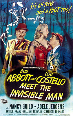 Postv Photograph - Abbott And Costello Meet The Invisible by Everett