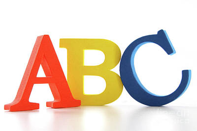 Literacy Photograph - Abc Letters On White  by Sandra Cunningham
