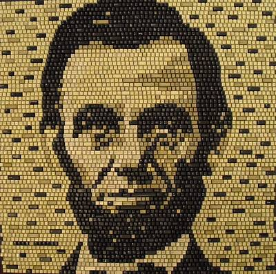 Micro Mosaic Mixed Media - Abe Lincoln by Doug Powell