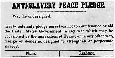 Photograph - Abolitionist Peace Pledge by Granger