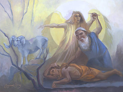Painting - Abraham And Issac Test Of Abraham by Suzanne Cerny