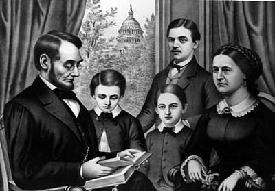Abraham Lincoln And Family, As Depicted Art Print by Everett