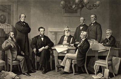 Art Print featuring the photograph Abraham Lincoln At The First Reading Of The Emancipation Proclamation - July 22 1862 by International  Images