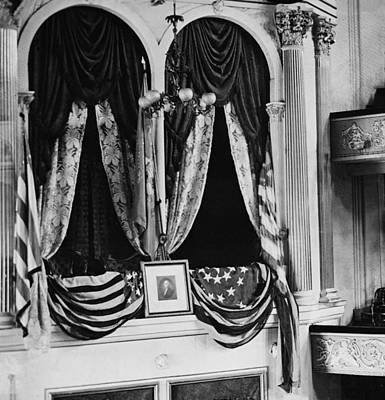 Flag Draped Photograph - Abraham Lincolns Assassination Took by Everett