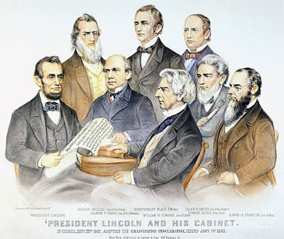 Abraham Lincolns Cabinet Art Print by Granger