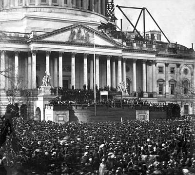 Crowd Scene Photograph - Abraham Lincolns First Inauguration - March 4 1861 by International  Images
