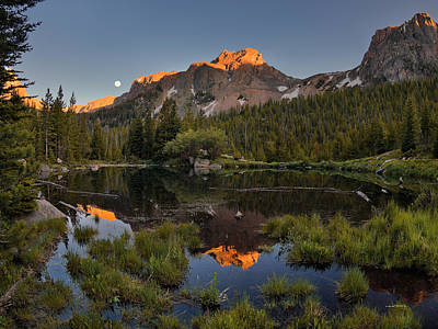 Full Moon Photograph - Absaroka Range Reflection by Leland D Howard