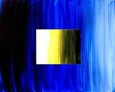 Abstract 3d Golden Blue  Square Art Print by Teo Alfonso