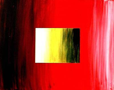 Painting - Abstract 3d Golden Red Square by Teo Alfonso