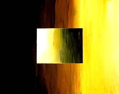 Painting - Abstract 3d Golden Square by Teo Alfonso