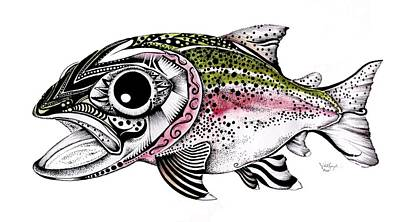 One Of A Kind Painting - Abstract Alaskan Rainbow Trout by J Vincent Scarpace