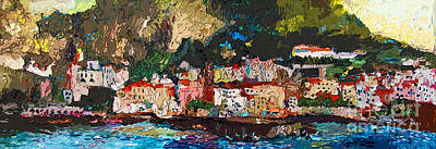 Impressionist Mixed Media - Abstract Amalfi Coast Panoramic Painting by Ginette Callaway
