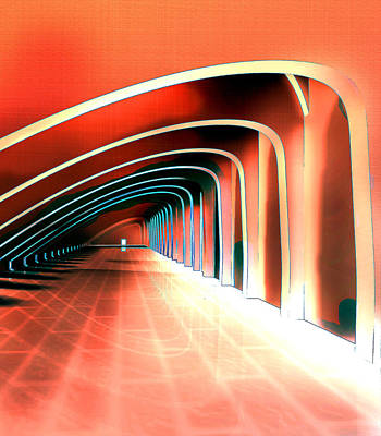 Impressionistic Digital Painting - Abstract Arches In A Tunnel by Elaine Plesser
