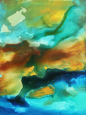 Drips Painting - Abstract Art Colorful Turquoise Rust River Of Rust II By Madart by Megan Duncanson
