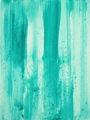 Stencil Art Painting - Abstract Art Original Decorative Painting Aqua Passion By Madart by Megan Duncanson