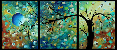 Abstract Art Original Landscape Painting Morning Blues By Madart Art Print by Megan Duncanson