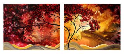 Abstract Art Original Landscape Painting Sweet Embrace By Madart Art Print by Megan Duncanson