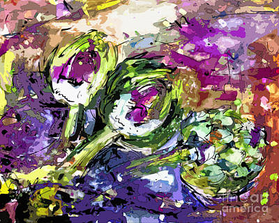 Artichoke Mixed Media - Abstract Artichoke Art By Ginette by Ginette Callaway