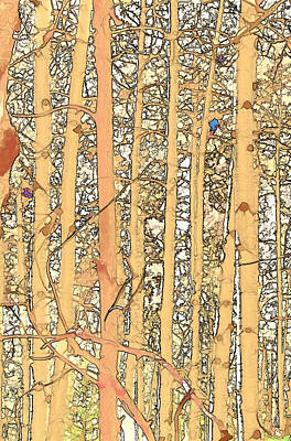 Digital Art - Abstract Aspens by Charles Muhle