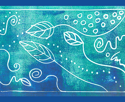 Leave Mixed Media - Abstract Block Print In Blue by Ann Powell