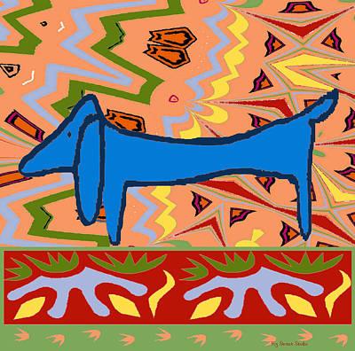 Abstract Blue Dachshund Art Print by Jerry Schwehm