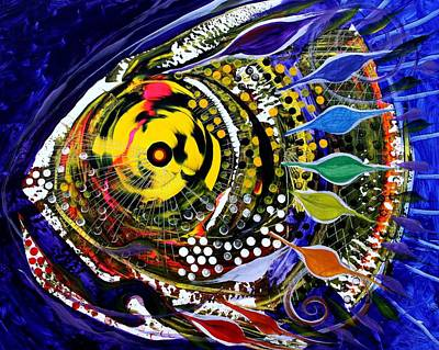 Abstract Busy Bee Fish Art Print