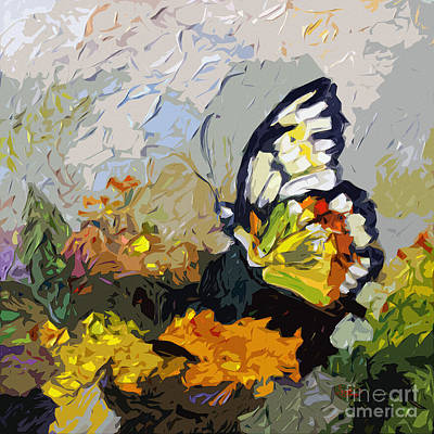 Abstract Butterfly On Lantana Art Print by Ginette Callaway