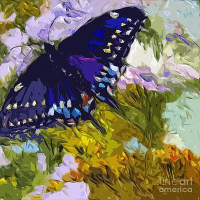 Large Format Mixed Media - Abstract Butterfly Painting Black Swallowtail by Ginette Callaway