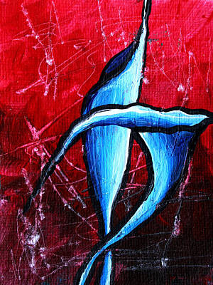 Artwork Painting - Abstract Calla Lilly Textured Painting Greeting Lillies By Madart by Megan Duncanson