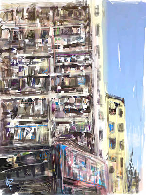 City Scape Mixed Media - Abstract City by Russell Pierce