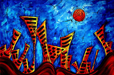 Abstract Cityscape Art Original City Painting The Lost City II By Madart Art Print by Megan Duncanson