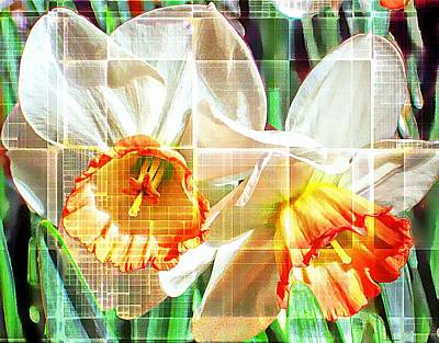 Abstract Daffodils  Art Print by Cathie Tyler