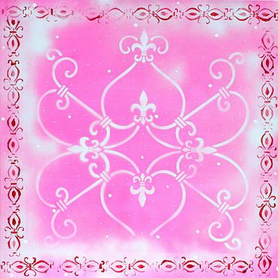 Fleur De Lis Painting - Abstract Decorative Art Original Painting Pink Fantasy By Madart by Megan Duncanson