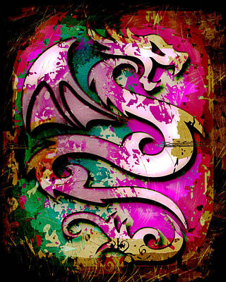 Abstract Dragon Art Print by David G Paul