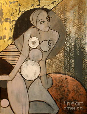 Nudes Mixed Media - Abstract Female Nude by Joanne Claxton