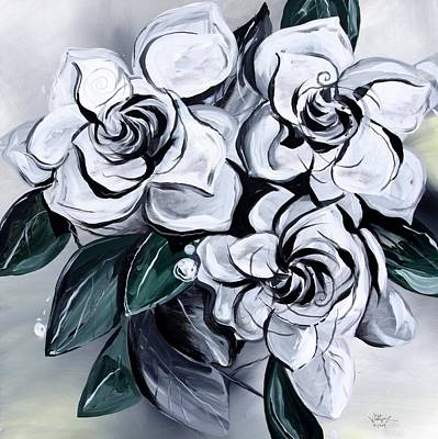 Gardenia Painting - Abstract Gardenias by J Vincent Scarpace