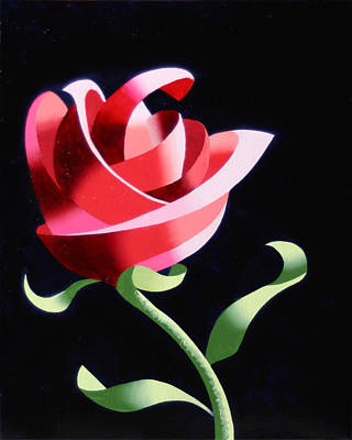 Painting - Abstract Geometric Cubist Rose Oil Painting 1 by Mark Webster