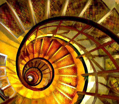 Computer Art Painting - Abstract Golden Nautilus Spiral Staircase by Elaine Plesser